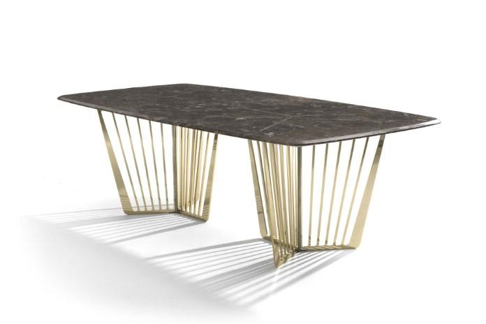 Chân bàn ăn Alfieri inox mạ vàng mặt đá tự nhiên cao cấp