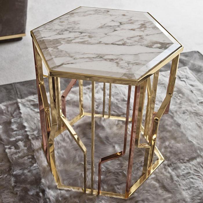 Chân side tab Ginza inox mạ vàng mặt đá tự nhiên