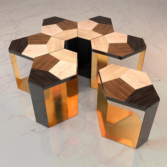 Inox mạ vàng tạo cảm hứng ra đời những bàn ghép, các side table có thể lắp ghép để tạo thành bàn lớn với nhiều hình dạng độc đáo.