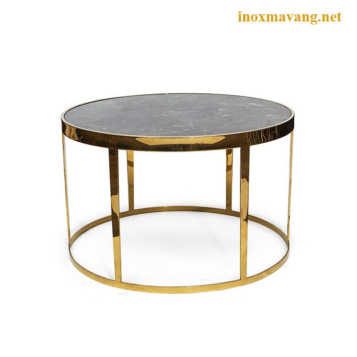 Chân bàn inox tròn mạ vàng bóng gương