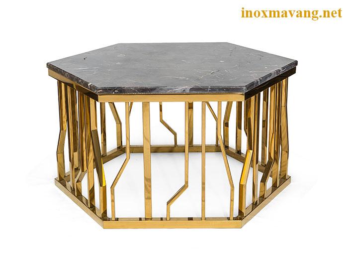 Chân bàn trà lục giác inox mạ vàng Ginza cao cấp