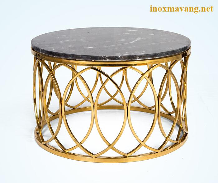 Chân bàn trà tròn inox 304 mạ vàng titan pvd