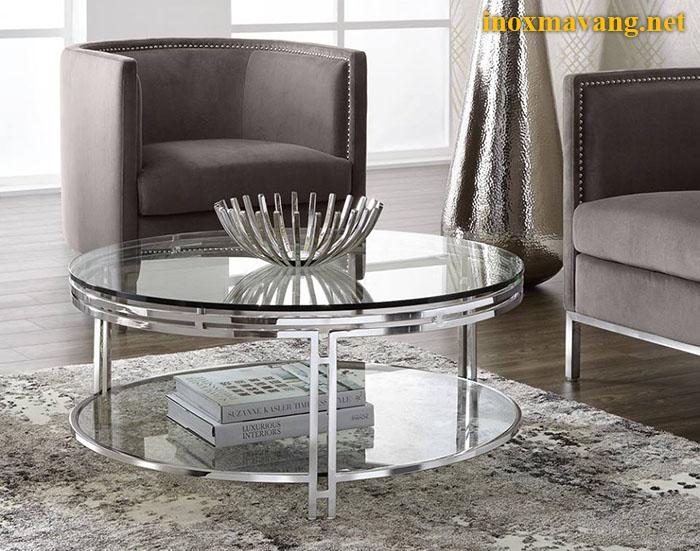 Chân bàn inox trắng bạc & mặt kính thanh lịch