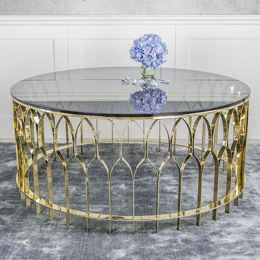 Chân bàn trà tròn inox mạ vàng đẹp