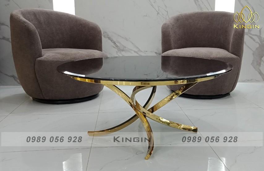 Chân bàn trà inox mạ vàng thiết kế chân xoè