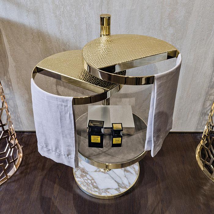 Chân bàn side tab phục vụ cao cấp inox mạ vàng