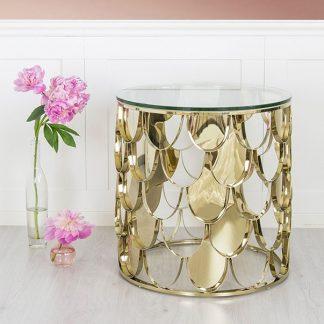 Side table inox mạ vàng