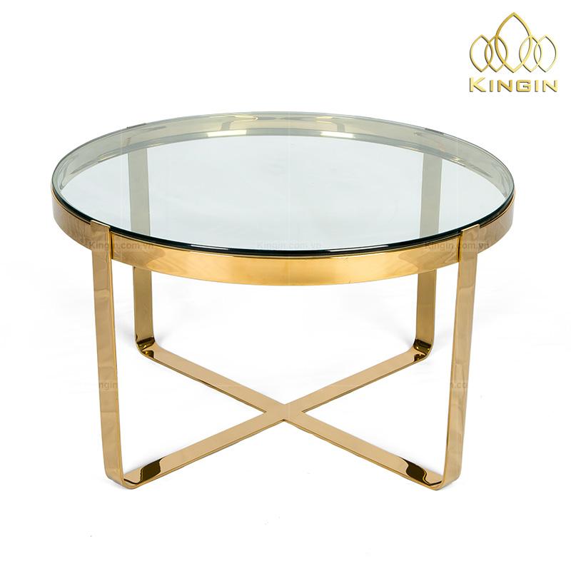 Chân bàn sofa inox vàng chữ thập