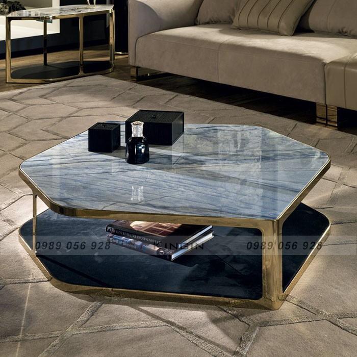 Chân bàn trà lục giác inox mạ đồng & mặt đá tự nhiên cao cấp. Mạ đồng đang là xu hướng mới của nội thất inox cao cấp