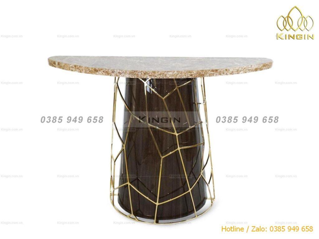Chân bàn console vàng gương mix đá và gỗ