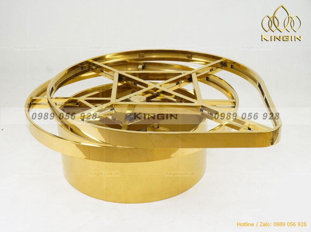 Chân bàn trà xoay hình giọt nước inox mạ vàng, thiết kế độc đáo của Kingin