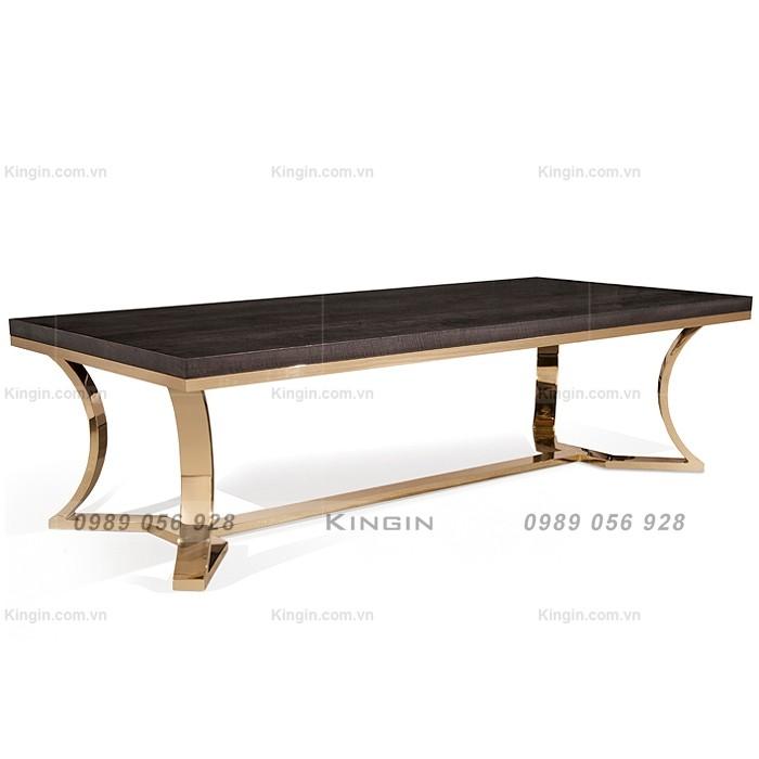 Chân bàn ăn inox mạ vàng mặt gỗ