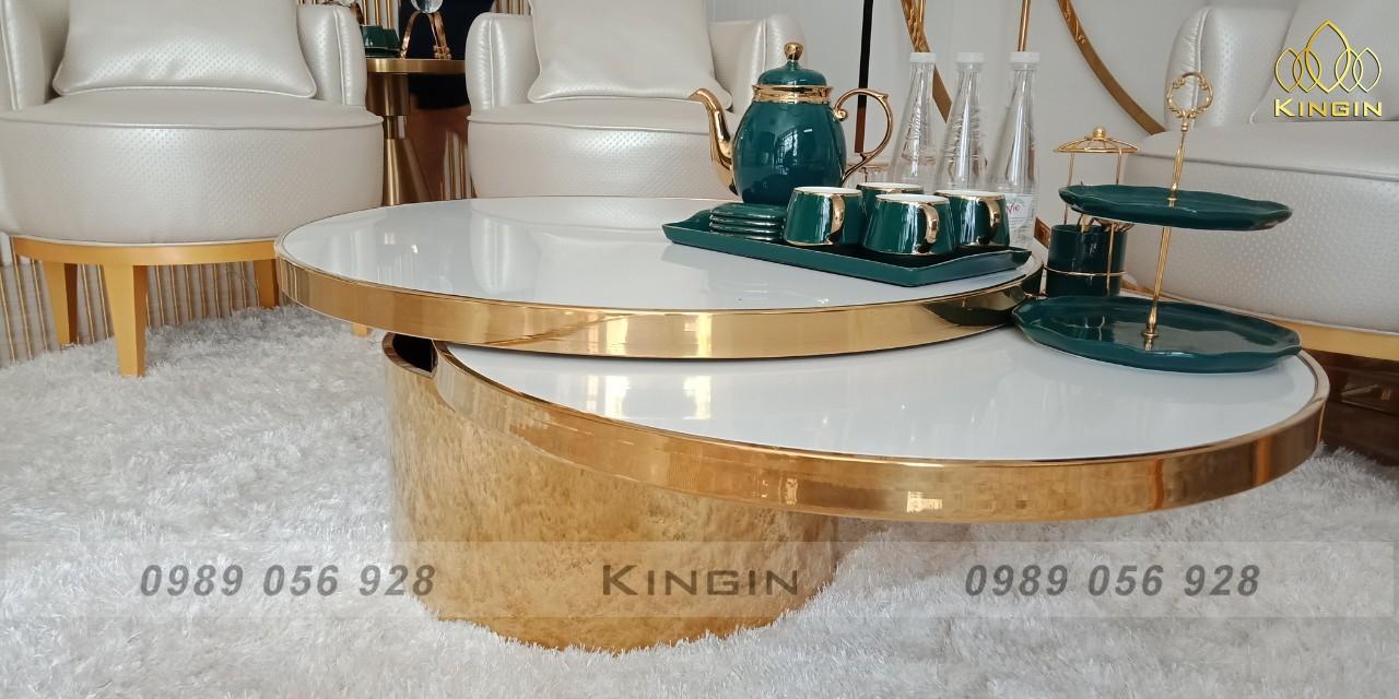 Bàn trà inox mạ vàng gương 2 mặt xoay độc đáo