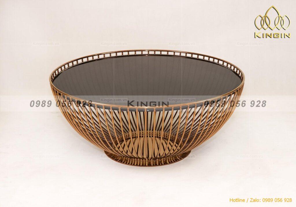 Chân bàn trà thiết kế nơm úp ngược inox mạ đồng