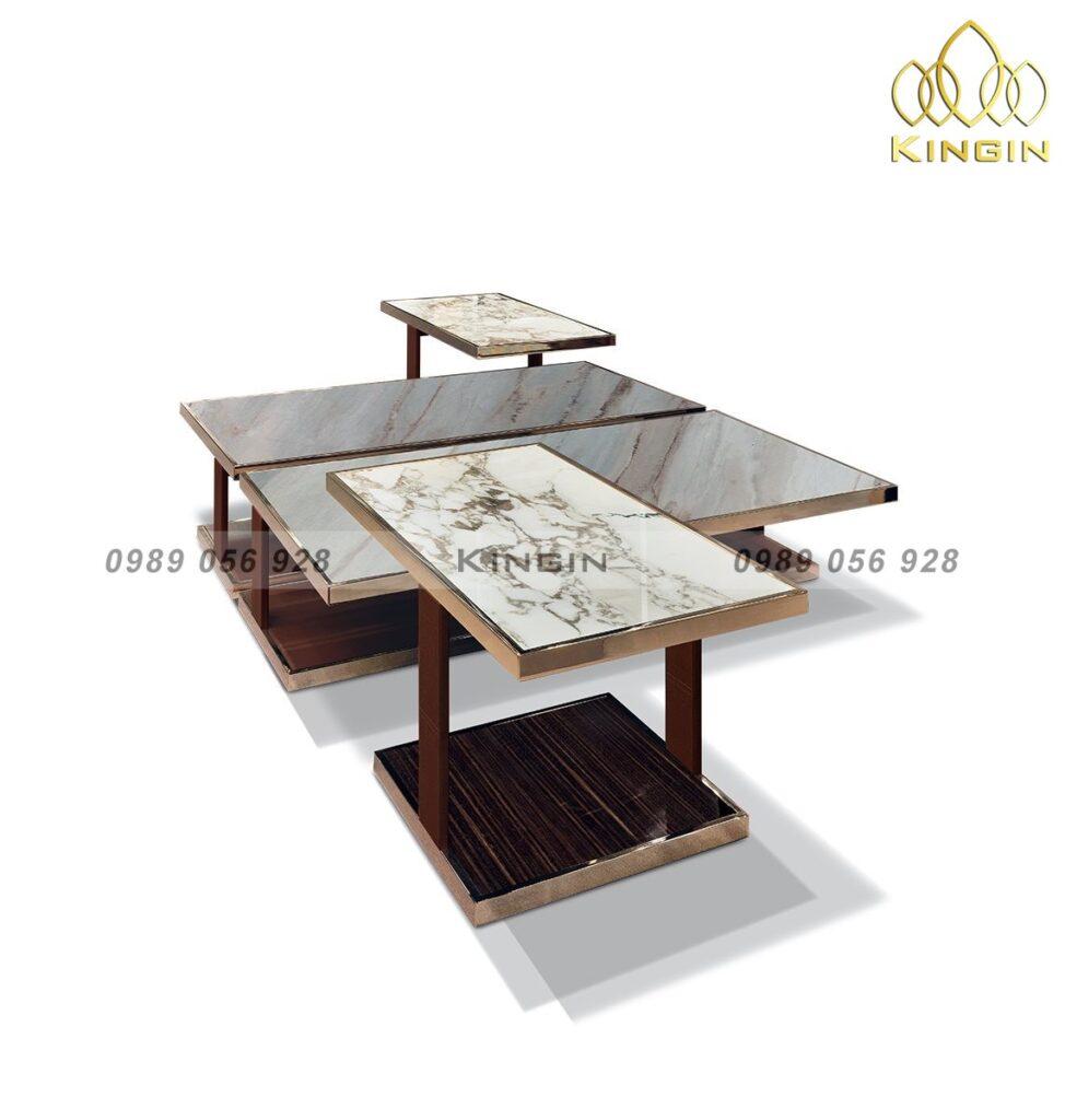 Bộ bàn trà & side tab inox mạ đồng mặt đá cao cấp