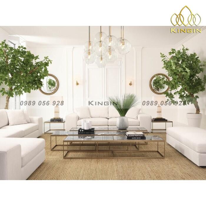 Bàn bộ 3 sofa dài inox mạ đồng