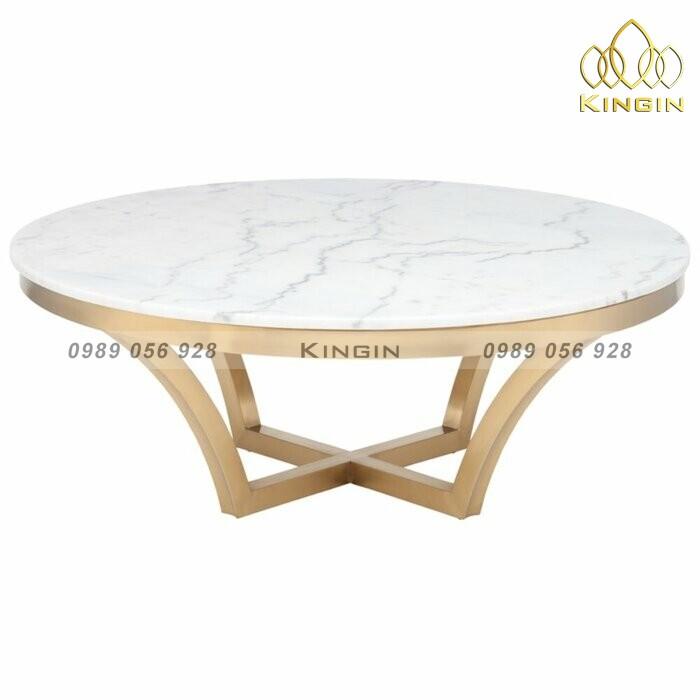 Bàn trà tròn Aurora cao cấp mặt đá marble